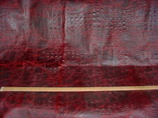RALPH LAUREN 19.10 SQ FT BURGUNDY CROCODILE COWHIDE LEATHER UPHOLSTERY