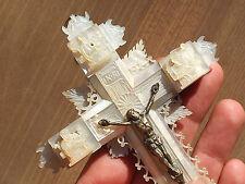 BELLE CROIX MURALE ANCIENNE XIXème en NACRE avec les 14 STATIONS DU CHRIST