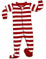 Leveret Baby Boys Girls Christmas Red & White Striped Footed Pajamas (6M-5Y)