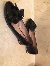 Miu Miu Jewel Heel Patent Black Leather Bow Flats MSRP 775$ Size 37-1/2