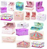 GIRLS KIDS MUSICAL BALLERINA JEWELLERY BOX PINK PURPLE WHITE Young Gift Trinket