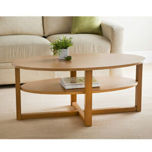 Wood Oak Finish Oval Shaped Coffee Table With Under shelf
