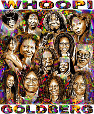 """WHOOPI GOLDBERG"" TRIBUTE T-SHIRT OR PRINT BY ED SEEMAN"