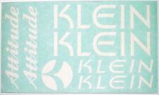 Klein Attitude Decals ~ Klein Frame Decals ~ Klein Fork Decals ~ White Decal Set