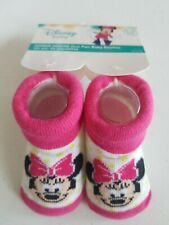 Disney Baby Mickey Mouse Baby Booties - Pink White Bow - One Pr - Ages 0-12 mos