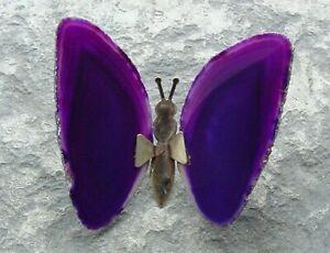 Beautiful Butterfly made of Brazilian Blue Agate Crystal Healing Feng Shui