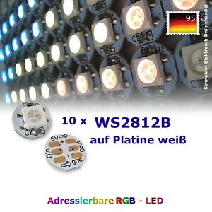 10 x WS2812B LED 5V weiß PCB adressierbar 5050 RGB Platine Neopixel WS2811 SMD