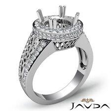 Platinum 1.35 Carat Round Semi Mount Filigree Diamond Engagement Halo Pave Ring