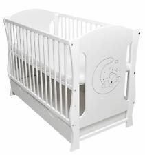 Gitterbett Babybett Kinderbett Monika 60x120 umbaubar Juniorbett weiß-grau 2in1