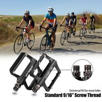 Road Mountain Bike Platform Pedals Wide Flat MTB Sealed Bearing 9/16''Aluminum