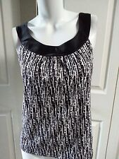 NEW ANN TAYLOR DRESS TANK BLACK/WHITE PETITE SHIRT SIZE SP