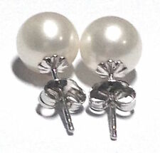 Round 10-11 Mm AAA South Sea White Pearls Earring 14k White Gold