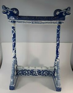 Antique? Vtg Chinese Calligraphy Paint Brush Stand Blue Dragons Porcelain Qing?