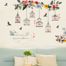 Flowers Birds Birdcage Wall Sticker Decals Wall Art For Home Living Room Bed MI