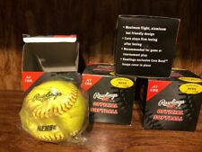 """(4) Rawlings Official Softball Leather Cover 12"""" Nfhs + 2 WorthBlue Dot - Lot"""