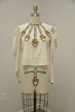 VTG Antique Hand Embroidered Silk Tribal Native Ethnic Style Blouse Shirt Top
