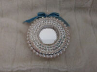 """Vintage Handmade Large 4"""" Beaded & Sequin Christmas Ornament - Double Sided"""