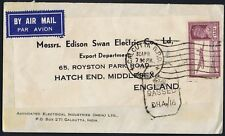 India 1942 Air Mail PASSED CENSOR Calcutta to Middlesex 14as SG277