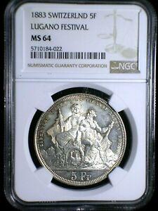 Switzerland 1883 Shooting Thaler *NGC MS-64* Lugano Festival 5 Francs RARE