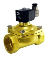 """Brass Electric Zero Differential Air Water Gas Solenoid Valve 2"""" Inch 24V DC"""