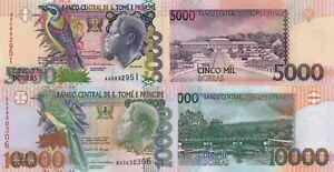 Sao Tomé and Principe 2 PCS Set: 5000 & 10000 Dobras (2004) - p65c/p66c UNC