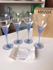VINTAGE SET OF 4 MIKASA GERMANY SEAMIST SAPPHIRE BLUE STEM WINE GOBLET GLASSES