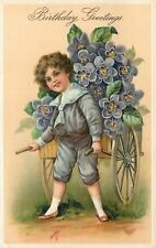 PFB~Victorian Boy Pulls Purple Dahlia Flower Cart~Embossed~Germany~Series 8530