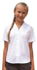 Girls School Blouse Revere Collar Shirt White Short Sleeve Ages 4-16 Easy Care