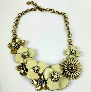 "Stella & Dot ""Bloom"" Flower Statement Necklace Cream Gold Tone"