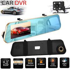 "4.3"" 1080P Hd Car Dvr Front Rear Dash Camera Dual Lens Rearview View Mirror Kit"