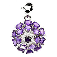 NATURAL URUGUAY AMETHYST & W.TOPAZ 14K On STERLING 925 SILVER PENDANT ChainFree
