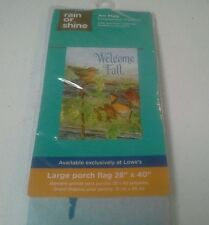 """New listing Large porch Art flag rain or shine 28"""" × 40"""" Welcome Fall fade resistant birds"""