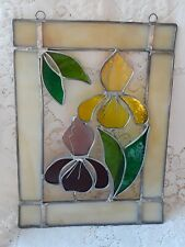 VINTAGE STAINED GLASS IRIS FLOWER HANGING SUNCATCHER 8 X 11 EXCELLENT