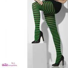 Ladies Green and Black Striped Tights Halloween Accessory Smiffys 42722