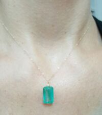 14k solid stamped yellow gold 7ct Zambian 14mm Emerald necklace pendant