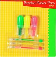 6 Scented Marker Gel Pens School Office Stationery Mini Highlighters Smelly Fun