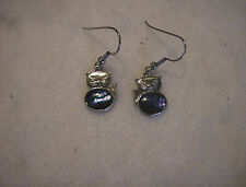 bling sterling silver plated abalone paua kitty cat animal pet ear ring hip hop