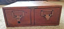Antique 2 Drawer Remington Rand  Library File Card Catalog Dovetail Made In USA