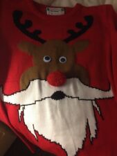 Jumper Ladies Clothing Clothes/Red Christmas Reindeer (M) Fun Eyes & Nose Vgc
