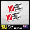 2X NO SMOKING EATING DRINKING Stickers Decals 90x48mm For Online Taxi CPV