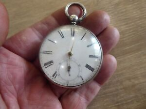 ANTIQUE SOLID SILVER GENTS FUSEE POCKET WATCH C1855.