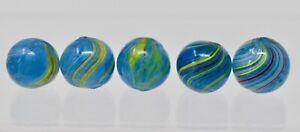 Vintage Antique German Aqua  Blue Glass Swirl marbles - lot of 5 - Lot M16