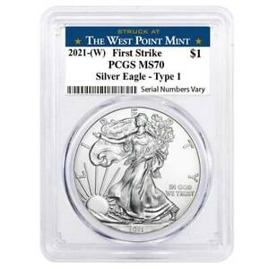 2021-(W) 1oz Silver American Eagle $1 Coin PCGS MS 70 First Strike (West Point)