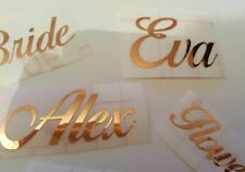 Personalised ROSE GOLD Name Sticker Vinyl Decal Water Bottle Wine Glass Box Hen