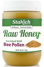 40 oz Bee Pollen Enriched Raw Honey 100% Natural Pure Organically Produced