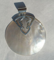 Solid Sterling Silver 925 Mother of Pearl Large Round Pendant 2.75 with loop