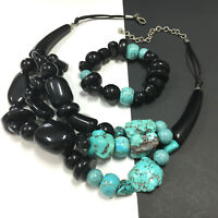 CHICO'S Genuine Turquoise & Black Lucite Necklace & Stretch Bracelet SET MM7s