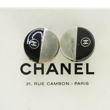 Auth CHANEL CC Logos Circle Earrings Black Plastic Clip-On 00A Vintage 02M578