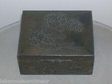Boite ancienne recouvert d étain art déco art nouveau asie
