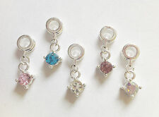 5 Silver Plated Dangle Charms for Charm Bracelet Assorted Mix /Rhinestones